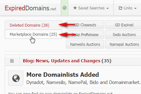 Domain List Navigation